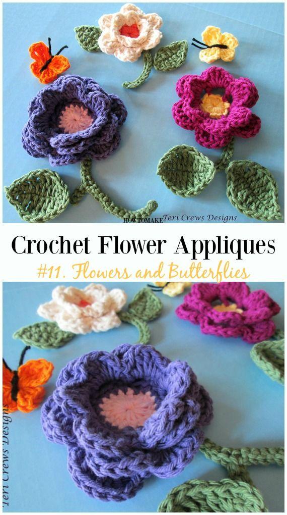 Easy Crochet Flower Appliques Free Patterns for Beginners | Blätter ...