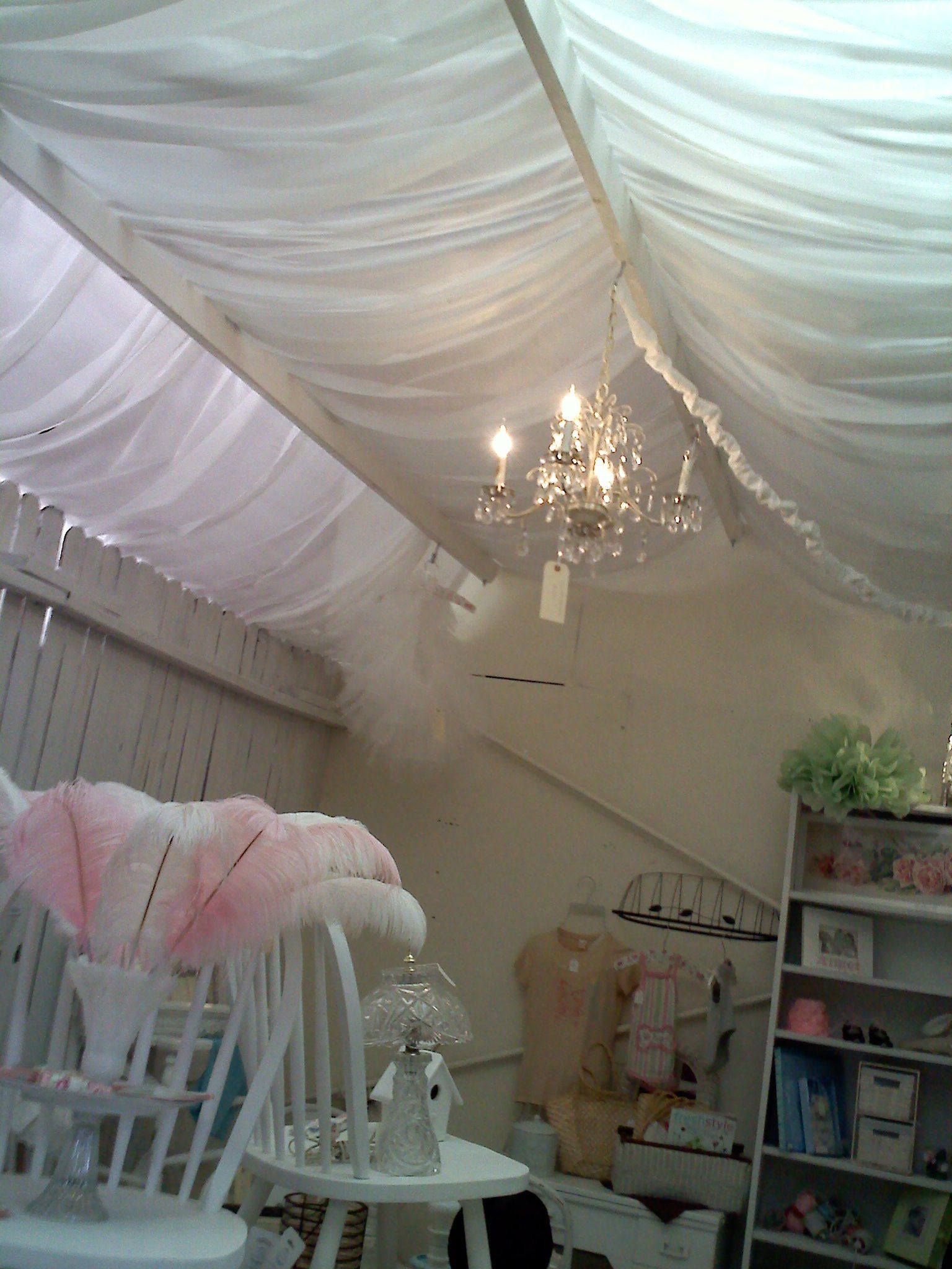 Shabby Chic Tulle Ceiling With Chandelier Tulle Ceiling Shabby