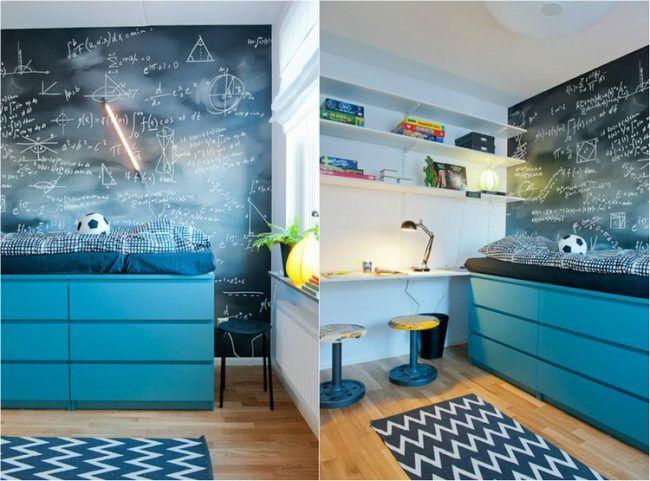 Kinderzimmer junge ikea hochbett  Hochbett selber bauen bett-stauraum-malm-kommode-blau-kinderzimmer ...