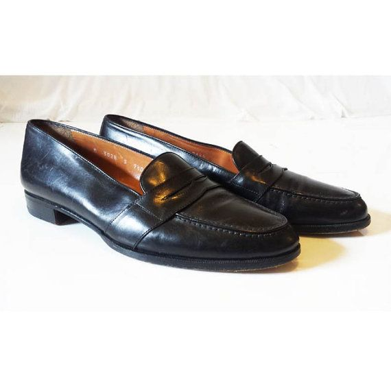 Vintage Penny Loafers, Mens Polo Ralph Lauren penny loafer shoes // 90s  black leather