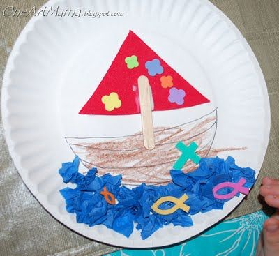 Jesus Calms The Storm Paper Plate Boat One Artsy Mama Bible Crafts For Kids Sunday School Crafts For Kids Christian Crafts