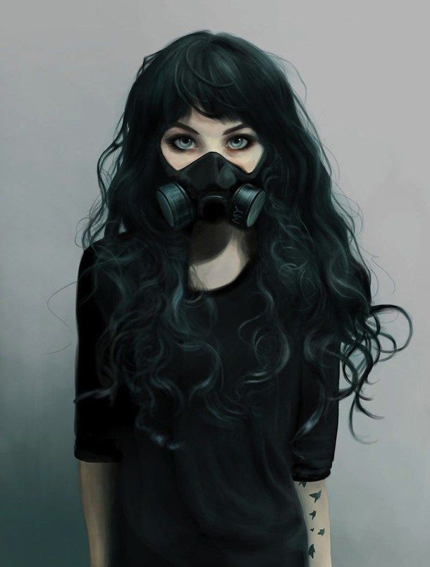 art black hair cyberpunk draw