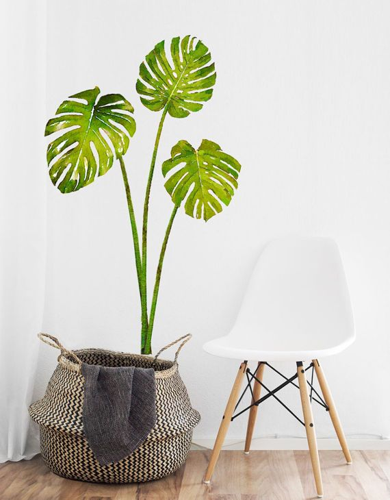 set of 3 tropical leaves wall decal monstera leaves fabric