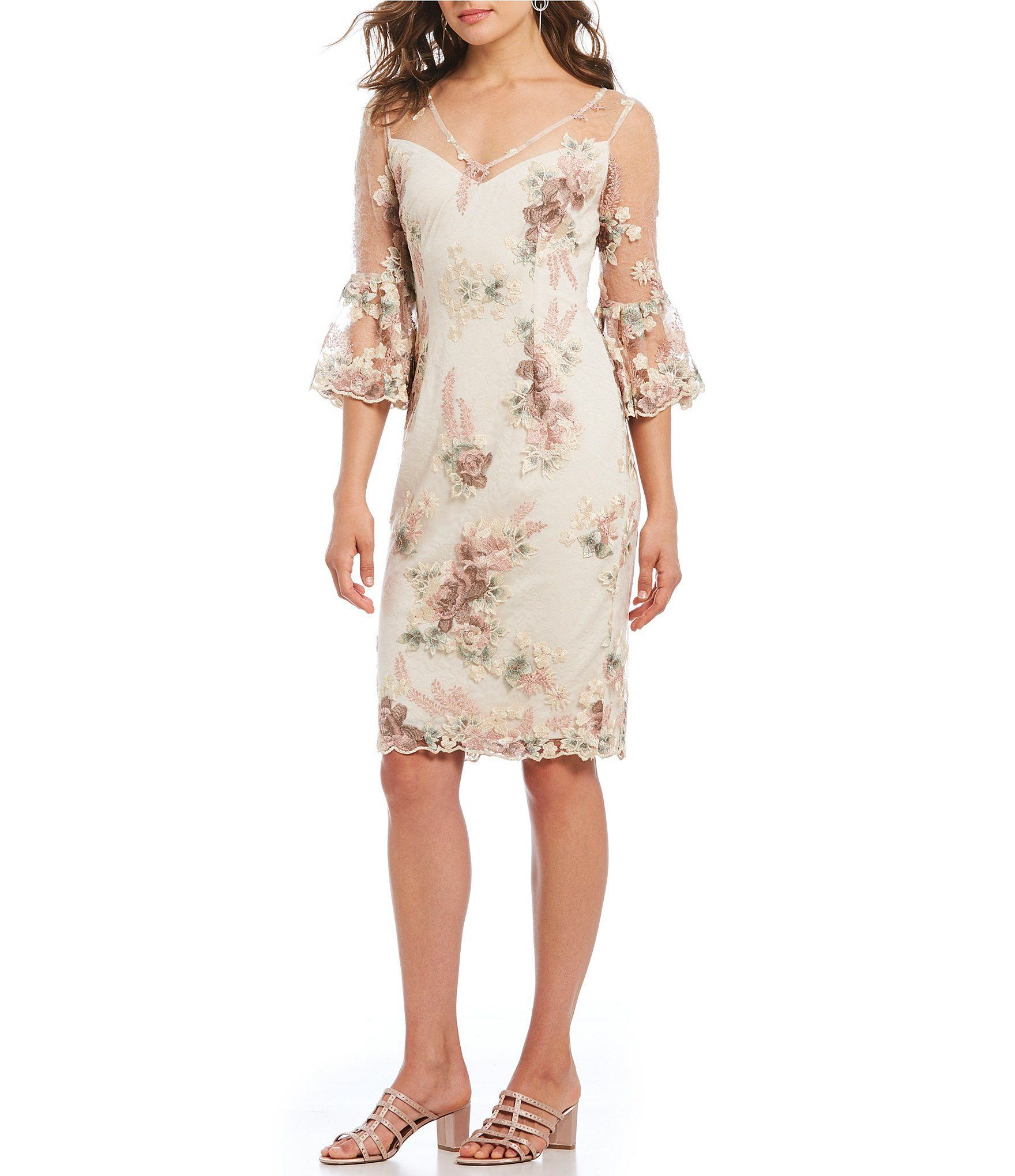 Sheath dresses for wedding guest  Adrianna Papell VNeck Embroidered Sheath Dress  Mother of the