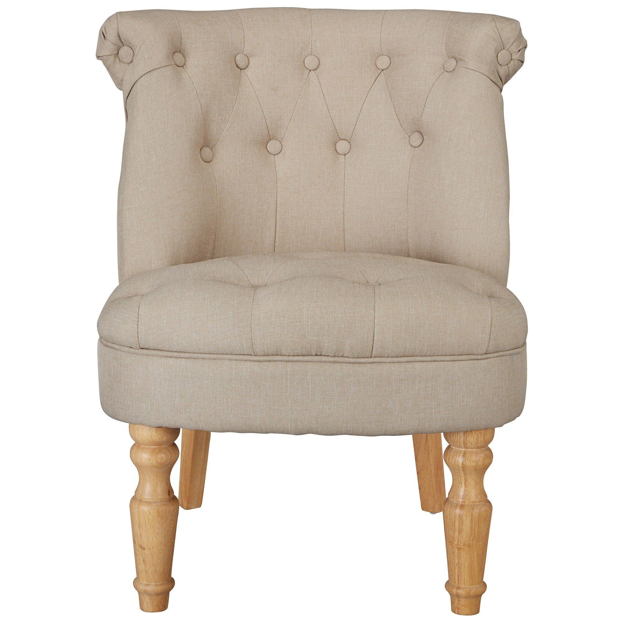 Linen Style Fabric Accent Occasional Chair Seat Beige