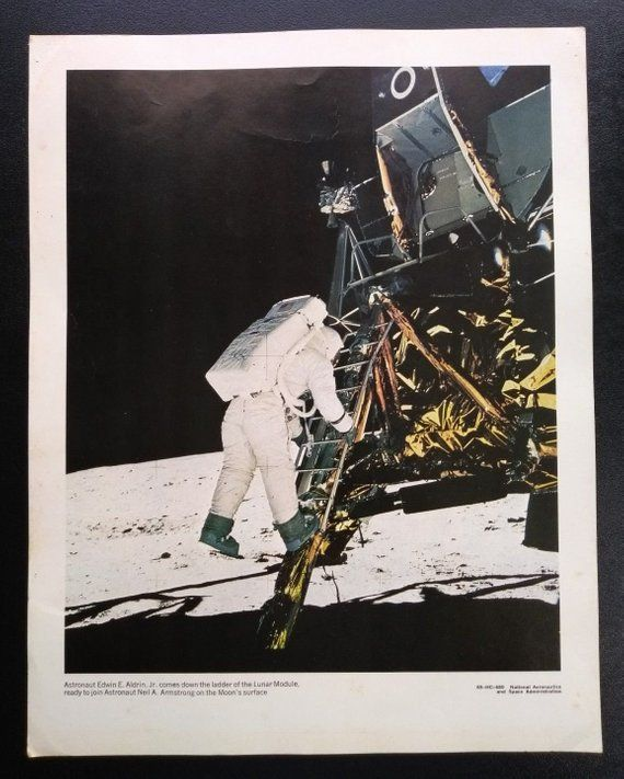 1960-69 Posters Footprints On The Moon Original Apollo 11 Rare Poster