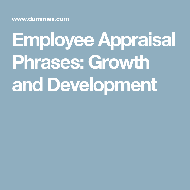 Employee Appraisal Phrases Growth And Development  Performance