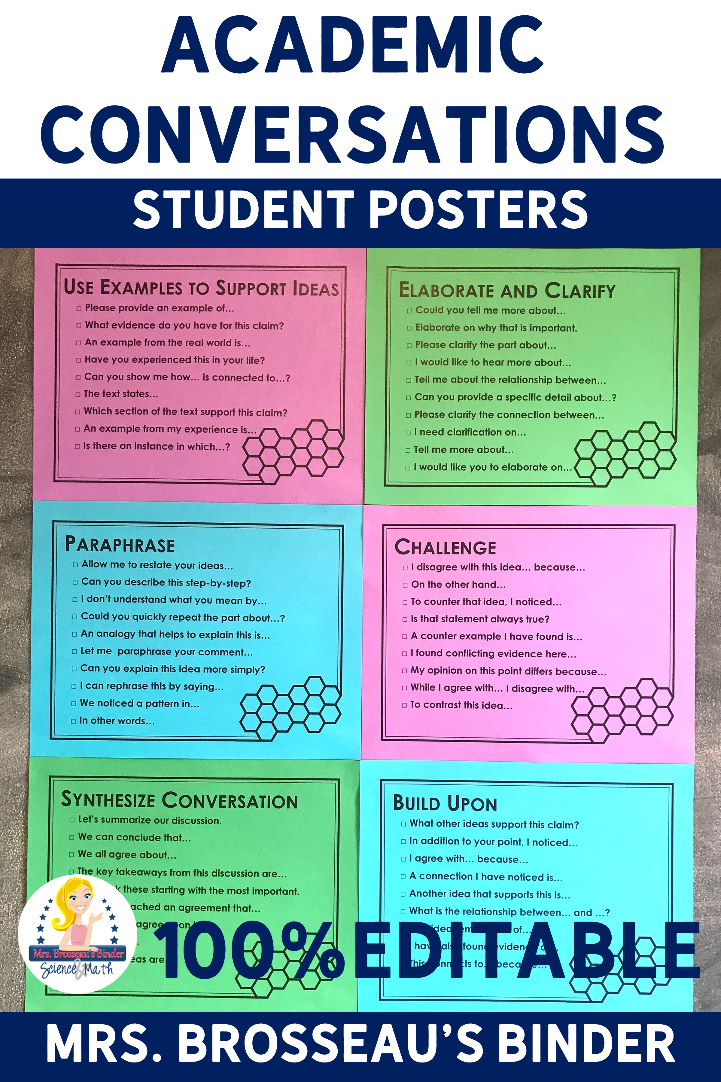 Academic Conversation Poster Prompt For Socratic Seminar Accountable Talk Prompts Paraphrase The Following Statement Do You Agree Or Disagree