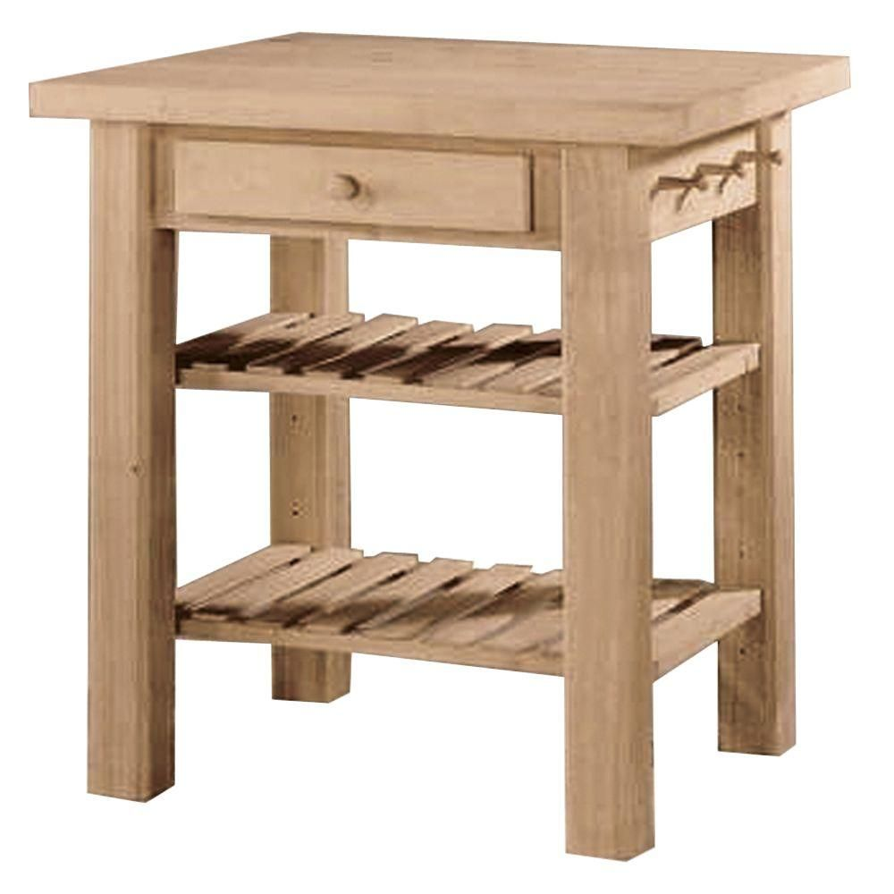 International Concepts Unfinished Kitchen Utility Table ...