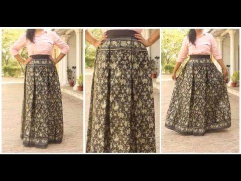 7327b7c91a Box Pleated Skirt From Old Saree | DIY Skirt - YouTube | reuse sari ...