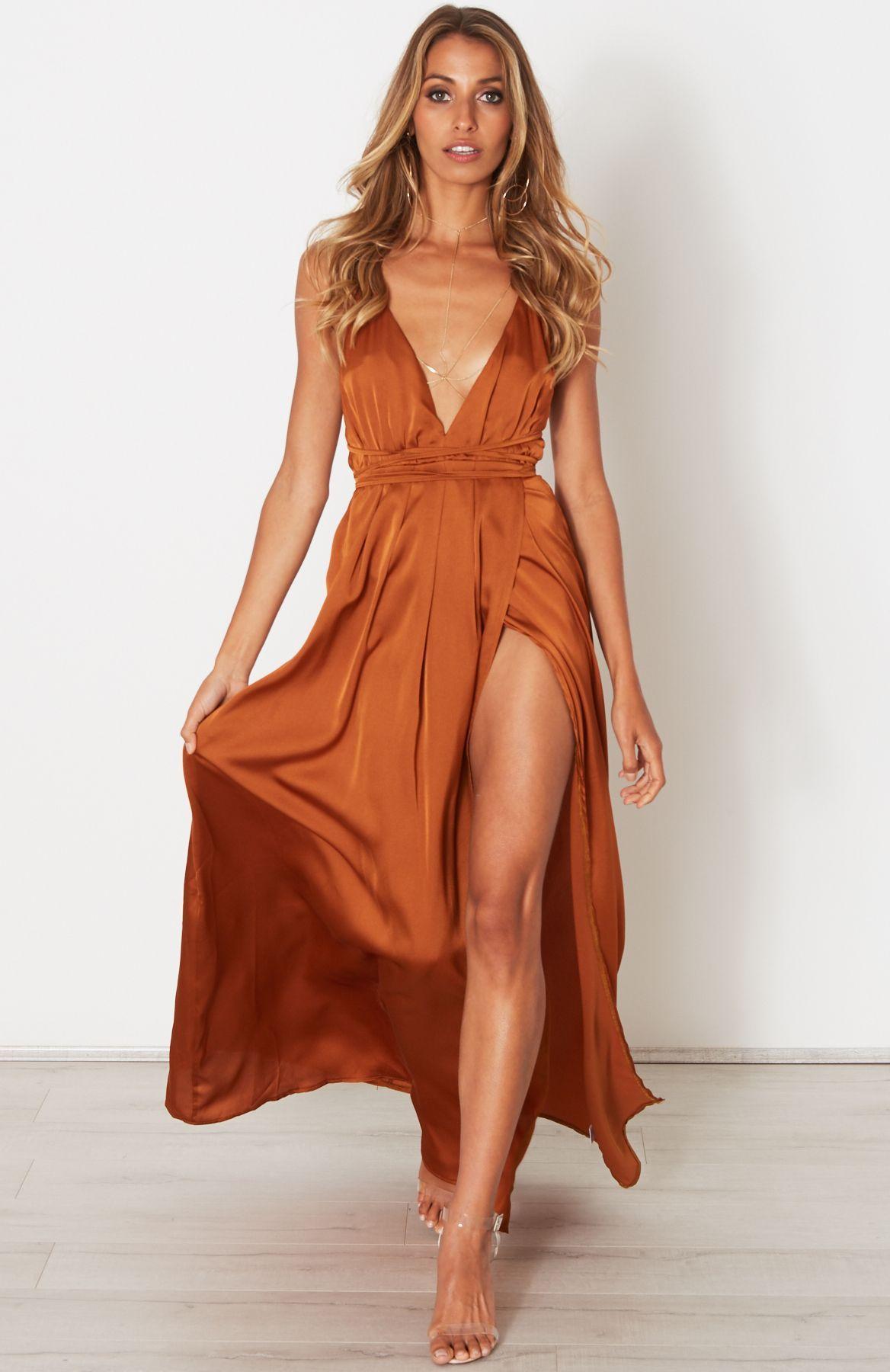 Description Satin Look Maxi Dress Halter Neck Straps That Wrap Around Waist Elasticated Waist Orange Prom Dresses Rust Dress Rust Bridesmaid Dress [ 1800 x 1168 Pixel ]