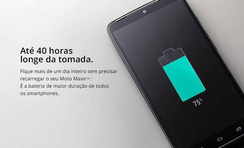 "Smartphone Moto MAXX Preto com Tela 5,2"", 4G, Android 4.4.4, Processador Quad-Core Qualcomm Snapdragon 805, 64GB, 21 MP"
