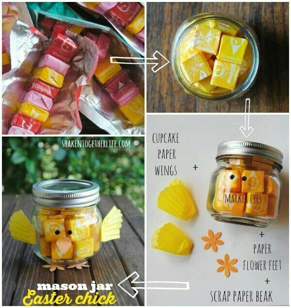 Paasfees food pinterest holiday games game prizes and easter how to make a mason jar easter chick for each chick gather one small mason jar yellow starburst or skittles permanent black marker one yellow cupcake negle Choice Image