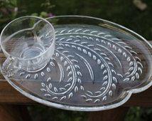 Vintage MCM Federal Glass snack trays/cups, cupcake plates, vintage ...