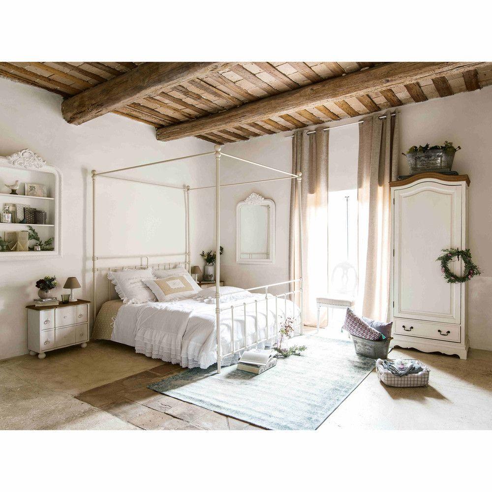 Letto bianco a baldacchino 160 x 200 in metallo syracuse maisons du monde mountain interior - Testate letto maison du monde ...