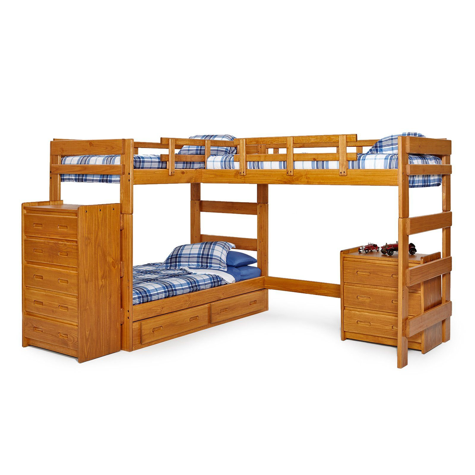 Woodcrest Heartland LShape Twin Loft Bed with Extra Loft