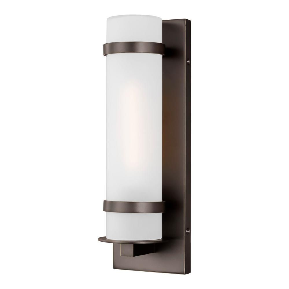 Sea Gull Lighting Alban Small 1 Light Antique Bronze Outdoor Wall Mount Cylinder 8518301 71 The Home Depot In 2020 Sea Gull Lighting Outdoor Wall Lighting Wall Lantern