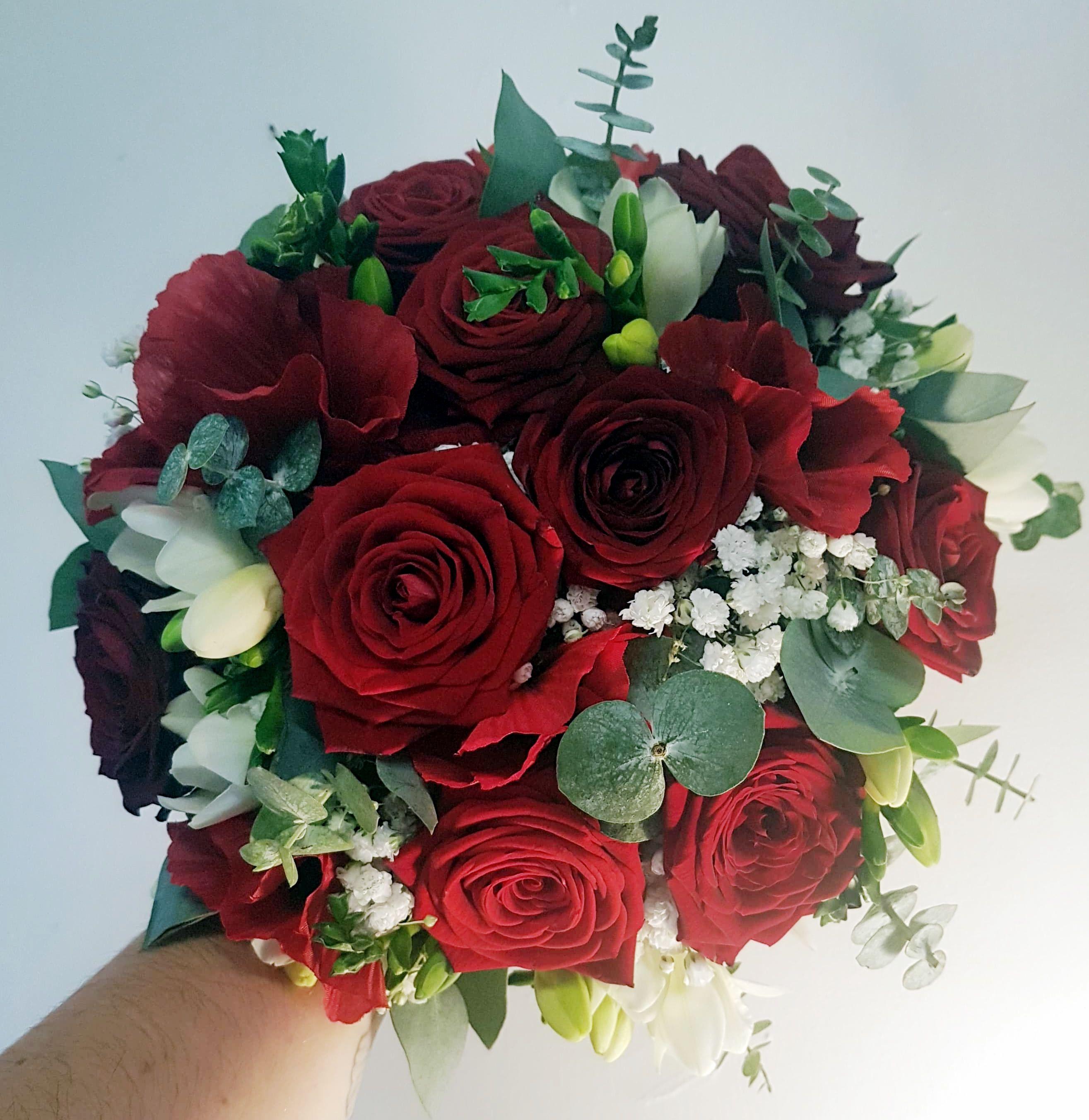 Beautiful Red Rose Handtied Bridal Bouquet Weddinginspiration