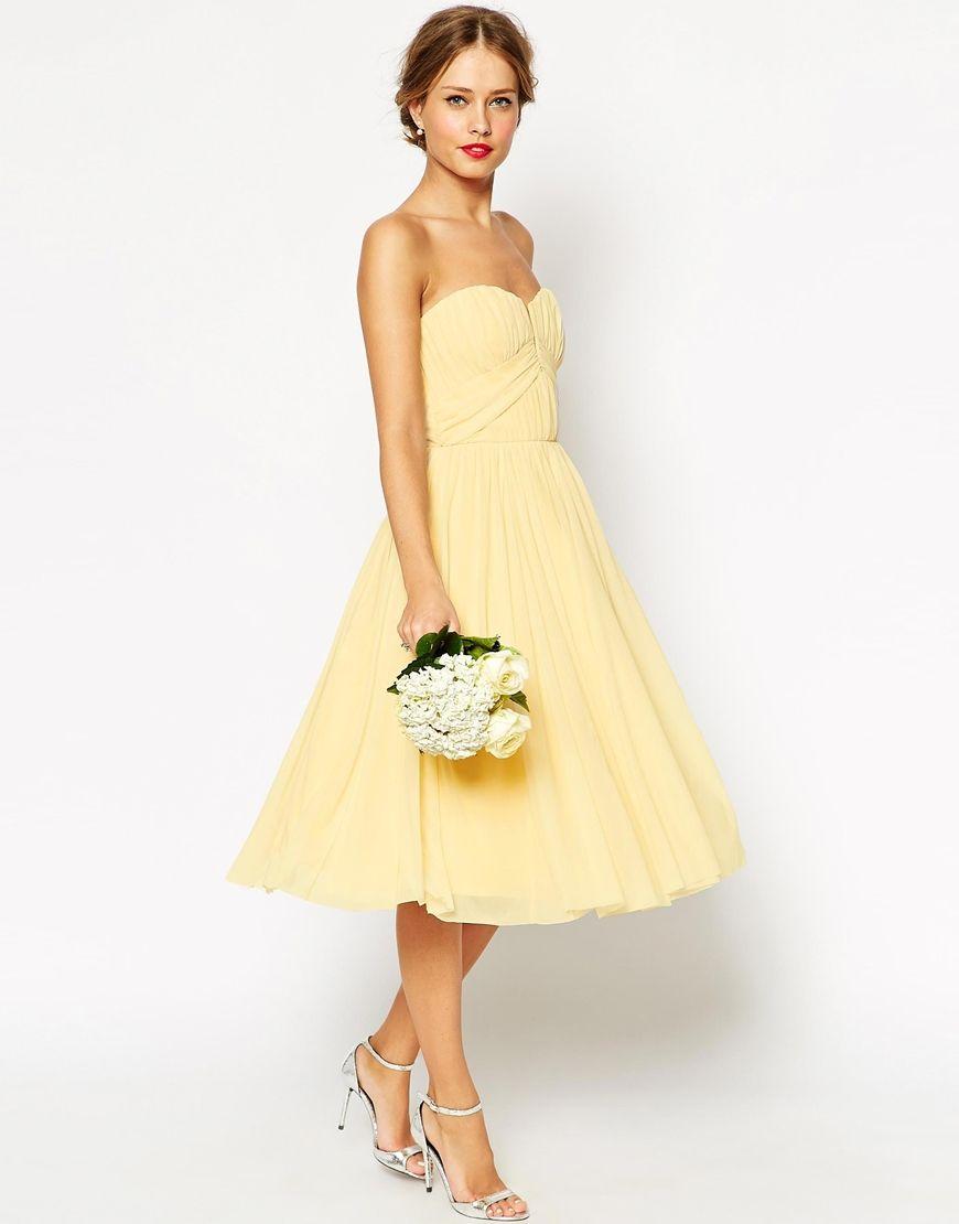Image 3 asos wedding robe mi longue corsage bandeau fronc yellow dresses for bridesmaids ombrellifo Choice Image