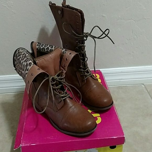 Brown convertible boot These boots can be worn a few different ways, you can flip the tops over and secure it with a snap to show off the leopard print or wear them all the way up Charlotte Russe Shoes Lace Up Boots