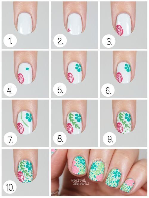 Http Bit Ly Wondrouslypolishedvintagefloral Floral Nails Tutorial Floral Nails Floral Nail Art
