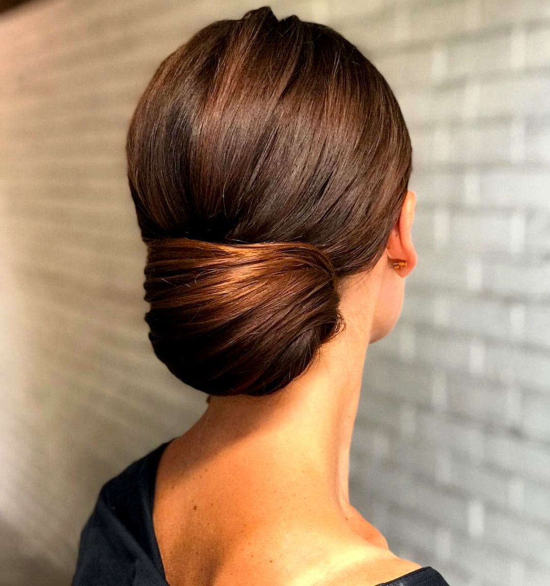 Glossy Low Chignon Created By Student Stylingbysarahxx During Bridal Hairstyling Course With Kasia Fo Long To Short Hair Medium Hair Styles Short Hair Styles