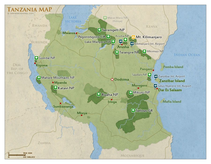 Map of Tanzania with national parks and highlights Tanzania