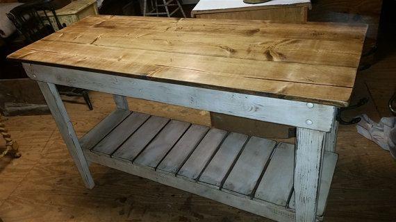 Distressed Pine Kitchen Island-Farm Table Style Kitchen Island ...