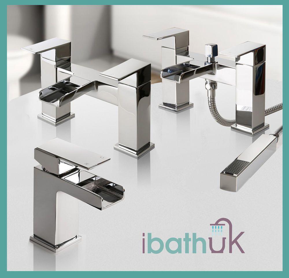 Bathroom Taps Chrome Basin Mixer Bath Filler Shower Deck Waterfall ...