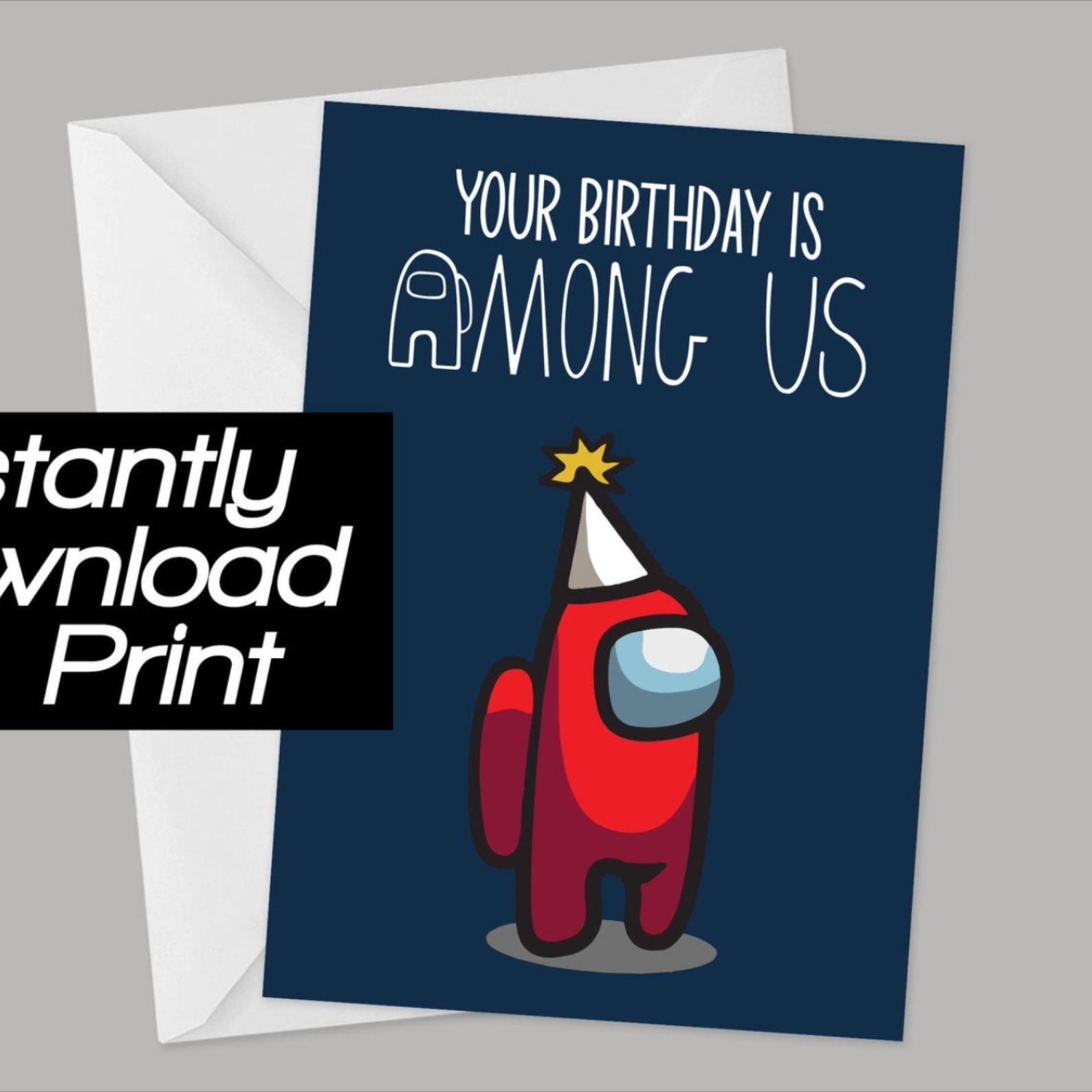 Among Us Birthday Card Printable Instant Download In 2021 Digital Birthday Cards Birthday Cards Birthday Card Printable