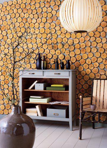 Un mur orné de bois Rondelle, Mur et Chalet - peinture sur meuble bois