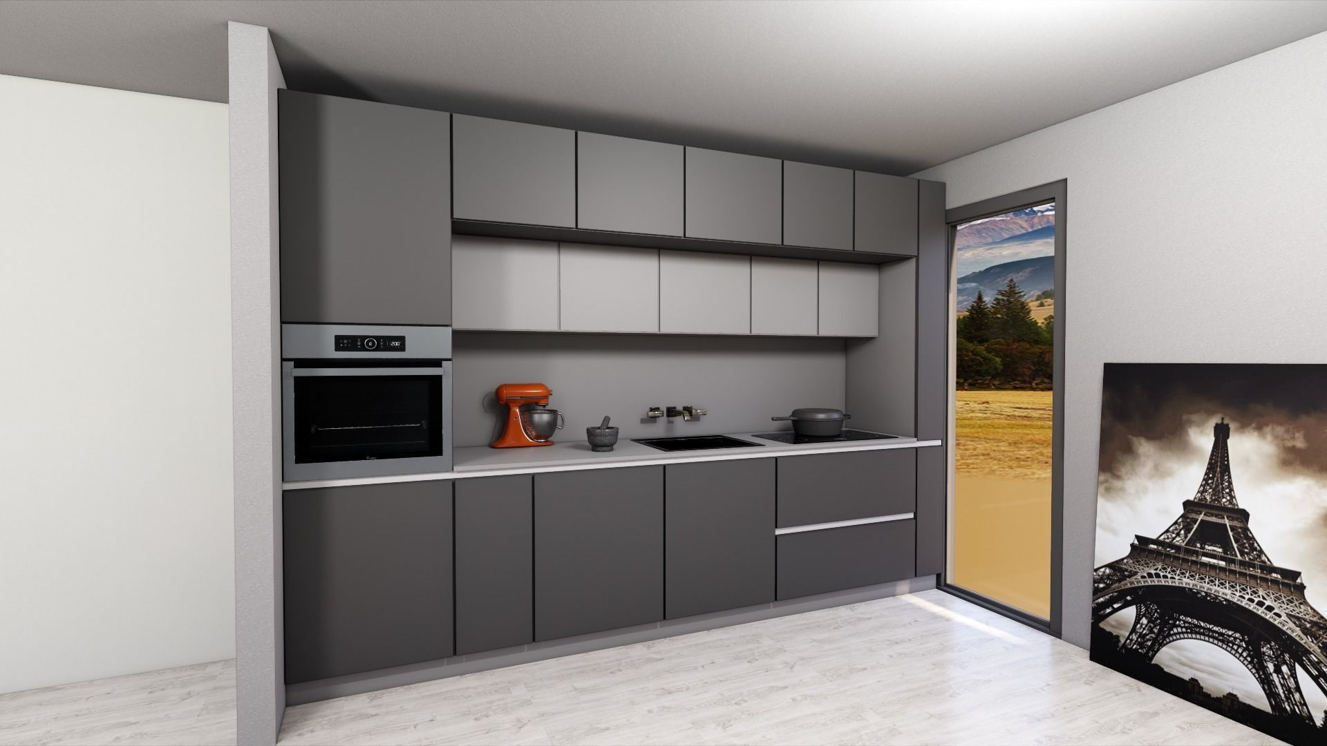 modern kitchen with island 3D model in 2020 Modern