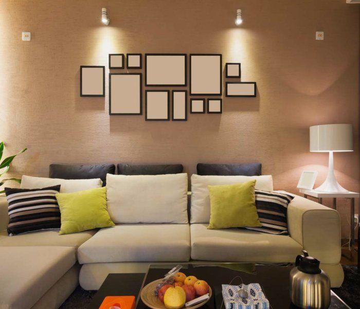 Wohnideen Wohnzimmer Wandgestaltung Beige Dekokissen Pflanzen