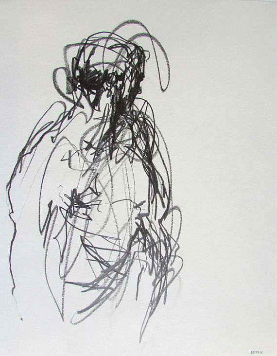 Contemporary Figure Drawing 11 x 14 Drawing by derekoverfieldart