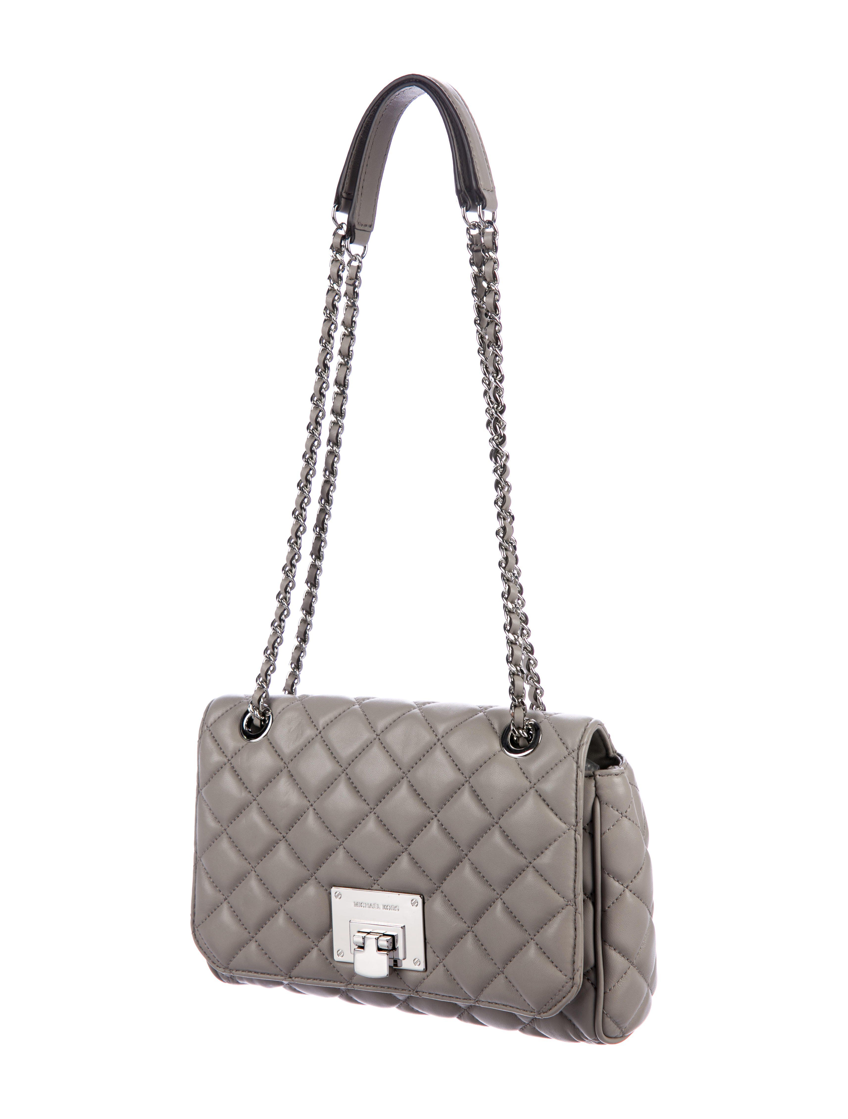 7df5823bcb9d Grey quilted leather Michael Michael Kors crossbody bag with silver-tone  hardware