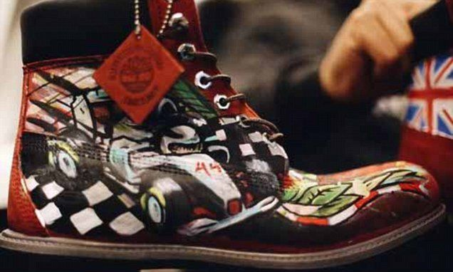 Lewis Hamilton shows off custom made Formula One Timberland