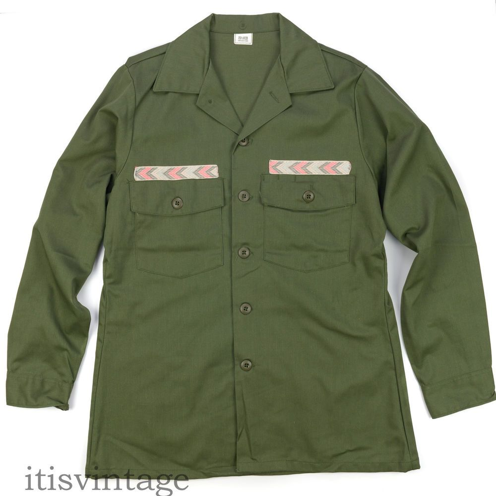 Vintage Military Olive Drab Shirt Overshirt Faux Button Down Approximately Size M Medium A8DsQV4oi9