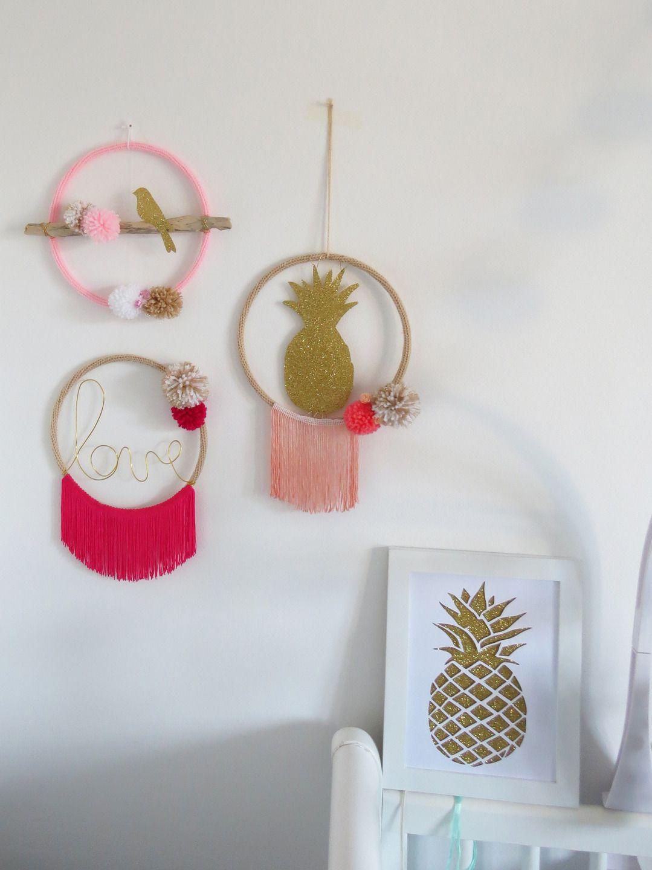Attrape r ve bird oiseau bois flott rose blanc dor - Deco chambre dore ...