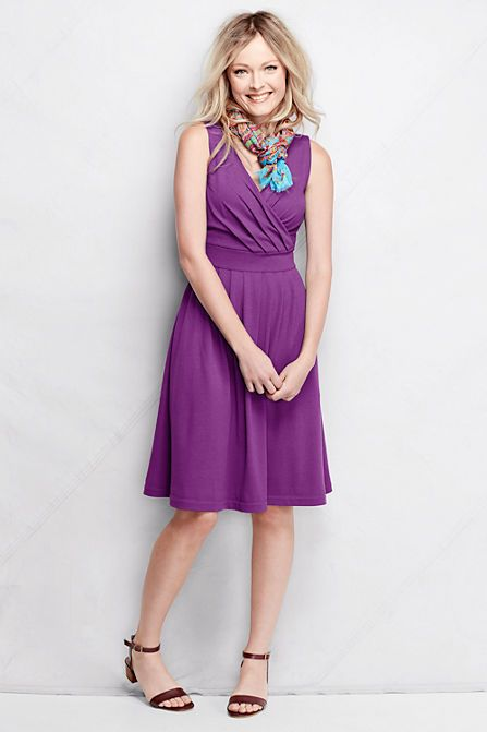Womens Petite Sleeveless Fit & Flare Patterned Dress - 10 -12 - Orange Lands End Free Shipping Official Site Lowest Price Cheap Online Low Cost Cheap Price aj3ryB