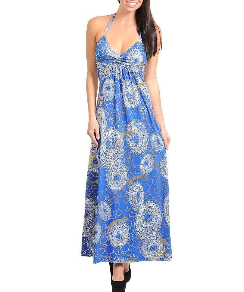 Sexy blue gold stormy print long padded cleavage glam halter maxi