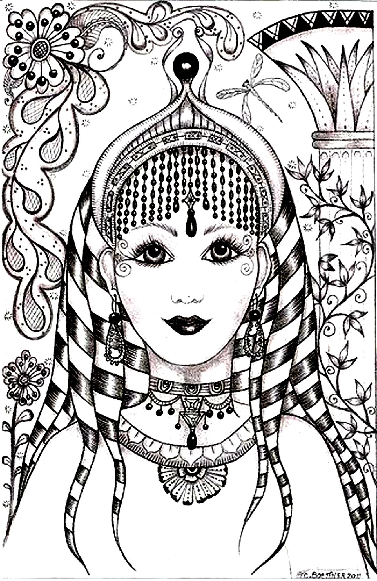 India Bollywood Coloring Pages For Adults Coloring Woman Face India Inspiration Dream Catcher Coloring Pages Cat Coloring Page Coloring Pages