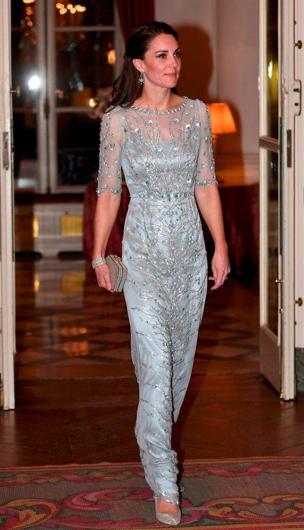 Jenny Packham gown + Oscar de la Renta dress