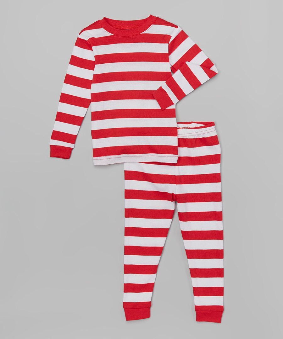 Look at this Red & White Stripe Pajama Set - Infant, Toddler & Kids on #zulily today!