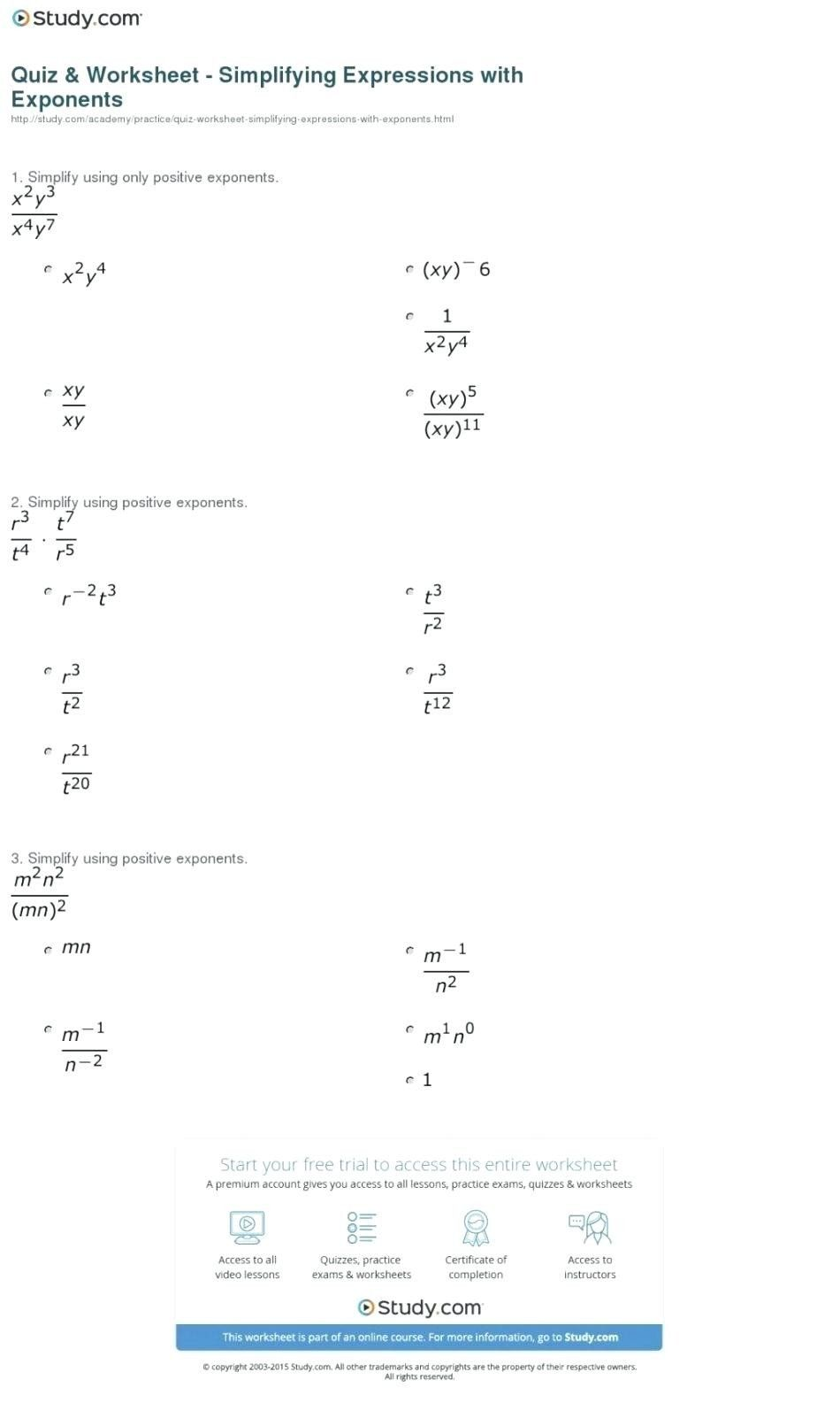 Exponent Rules Worksheet Answer Key Division Properties Of Exponents Franklin 2020