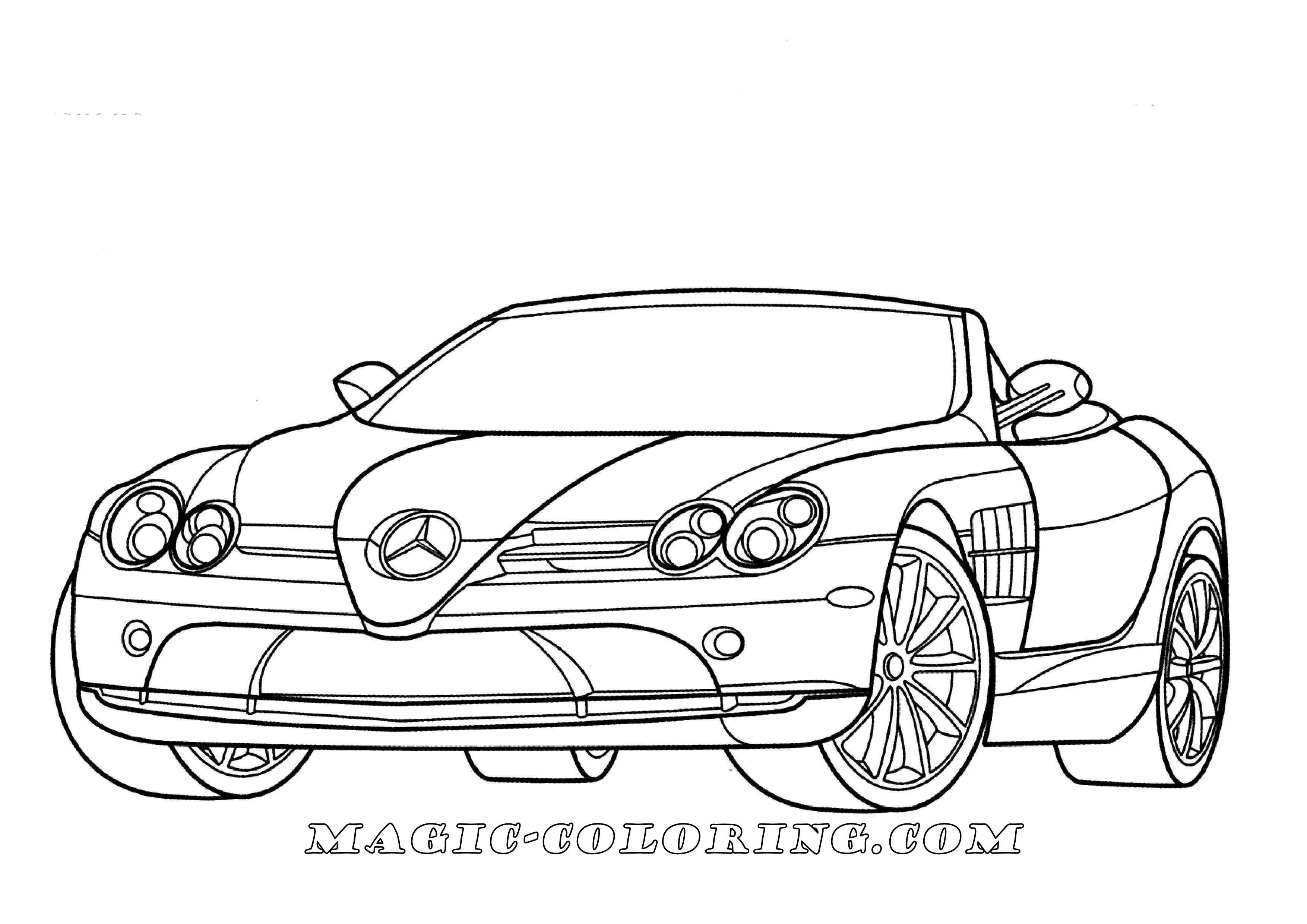 Mercedes Benz Slr Mclaren Coloring Page Sports Coloring Pages Lowrider Drawings Mercedes