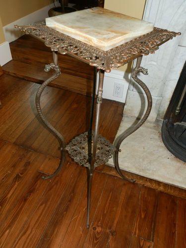 Gorgeous Ornate Antique Cast Iron Marble Top Plant Stand Antique
