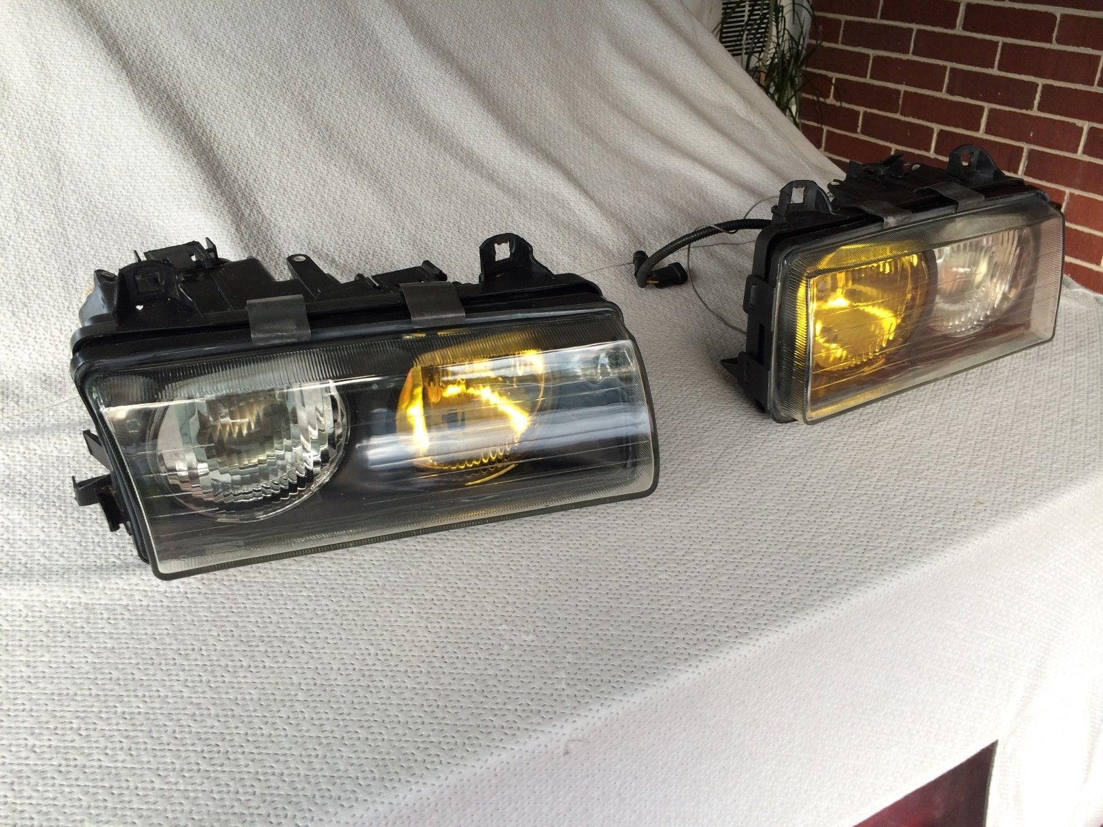 BMW E36 HID Headlights Excellent Used Condition with Bosch Yellow Lens and  Clear   eBay