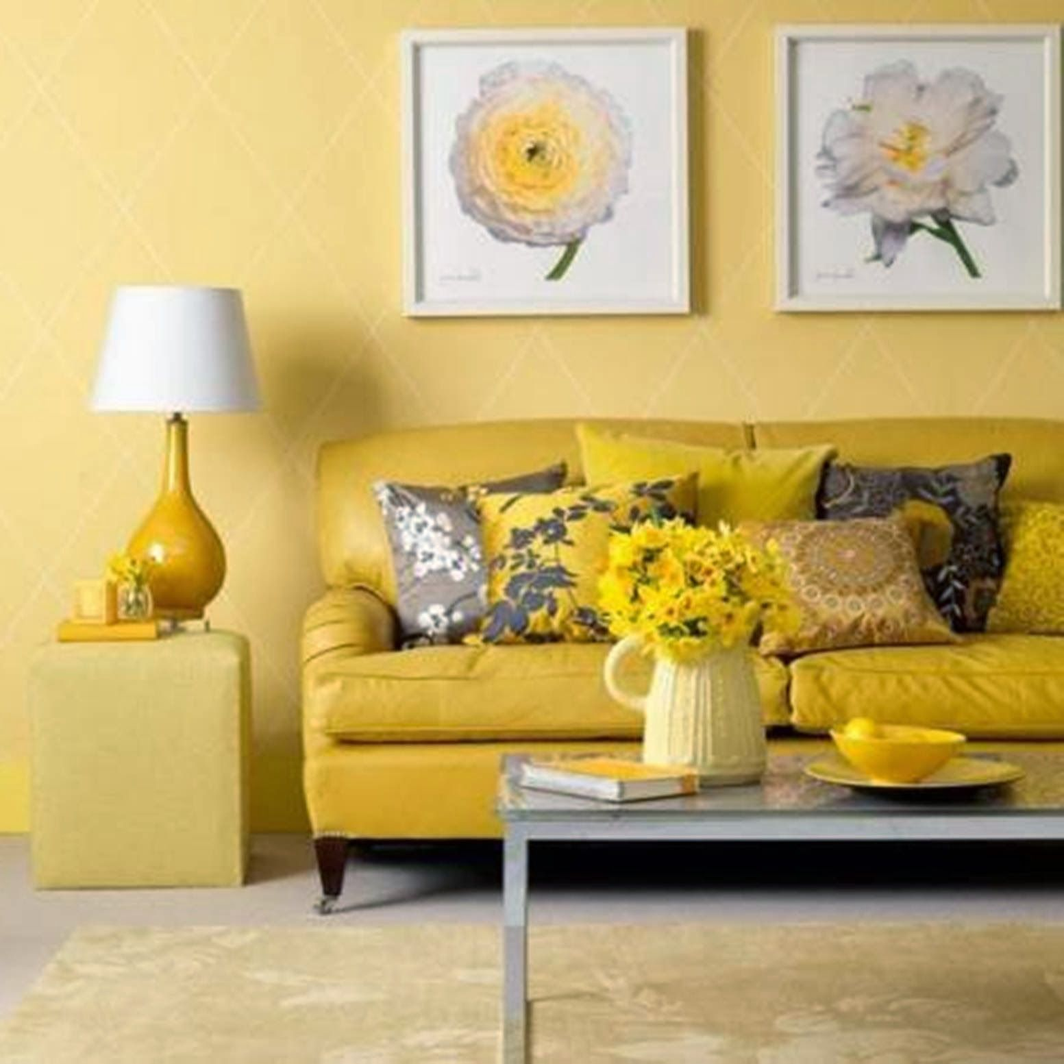 Lovable Rose Artwork Portray Over Yellow Faux Leather Two Seater ...