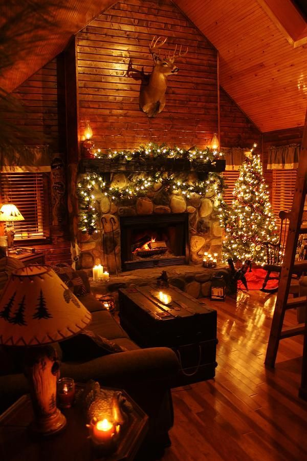 A Little Christmas Cabin In The Woods Is All We Need Photos - Christmas cabin fireplace scenes