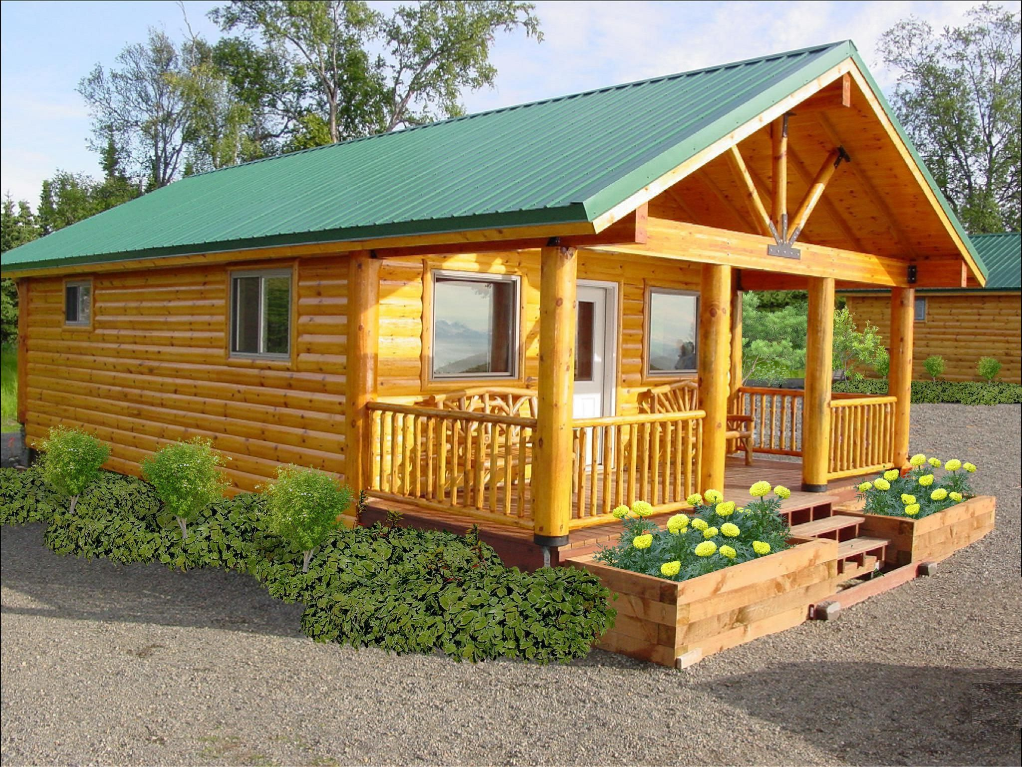Knotty pine cottage from the small for Small modular cabins and cottages